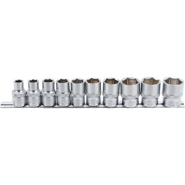 "Socket Set, Hexagon  12.5 mm (1/2"") drive  Inch sizes  10 pcs."